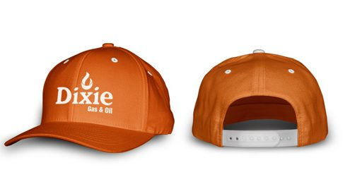 dixie gas orange snap back hat