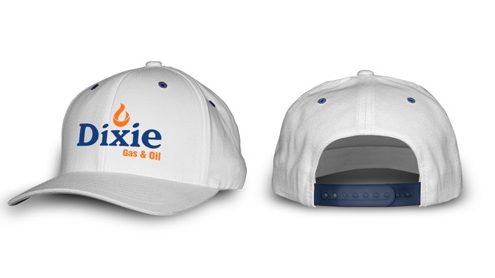 dixie gas white snap back hat