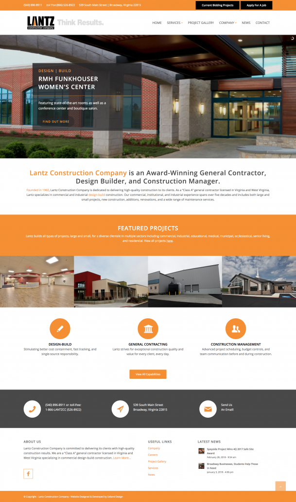 Lantz Construction: Rebrand & Website Design & Development