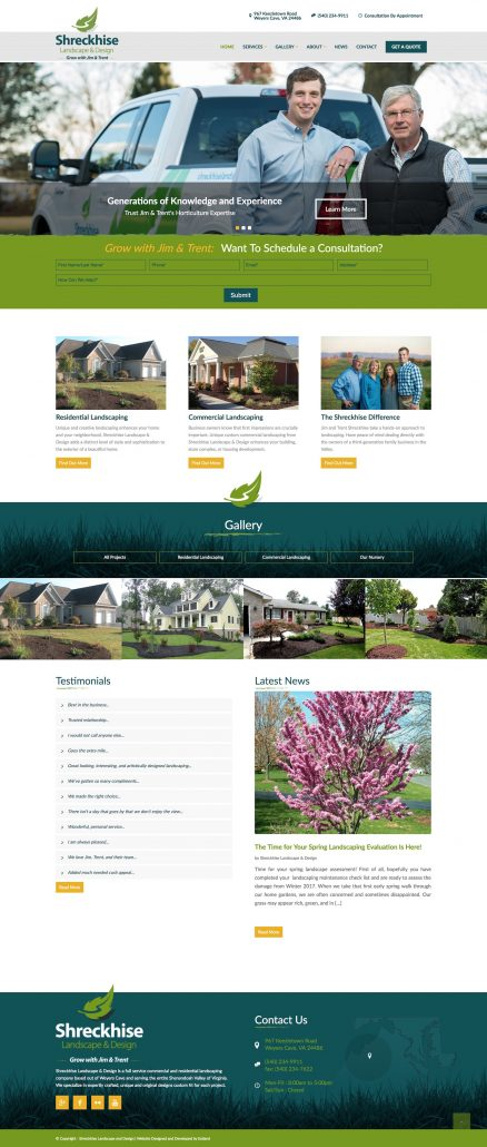 Shreckhise Landscape: Rebrand & Website Design & Development