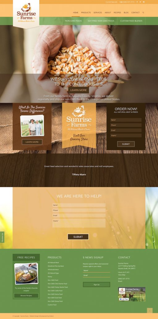 Sunrise Farms: Rebrand & Website Design & Development