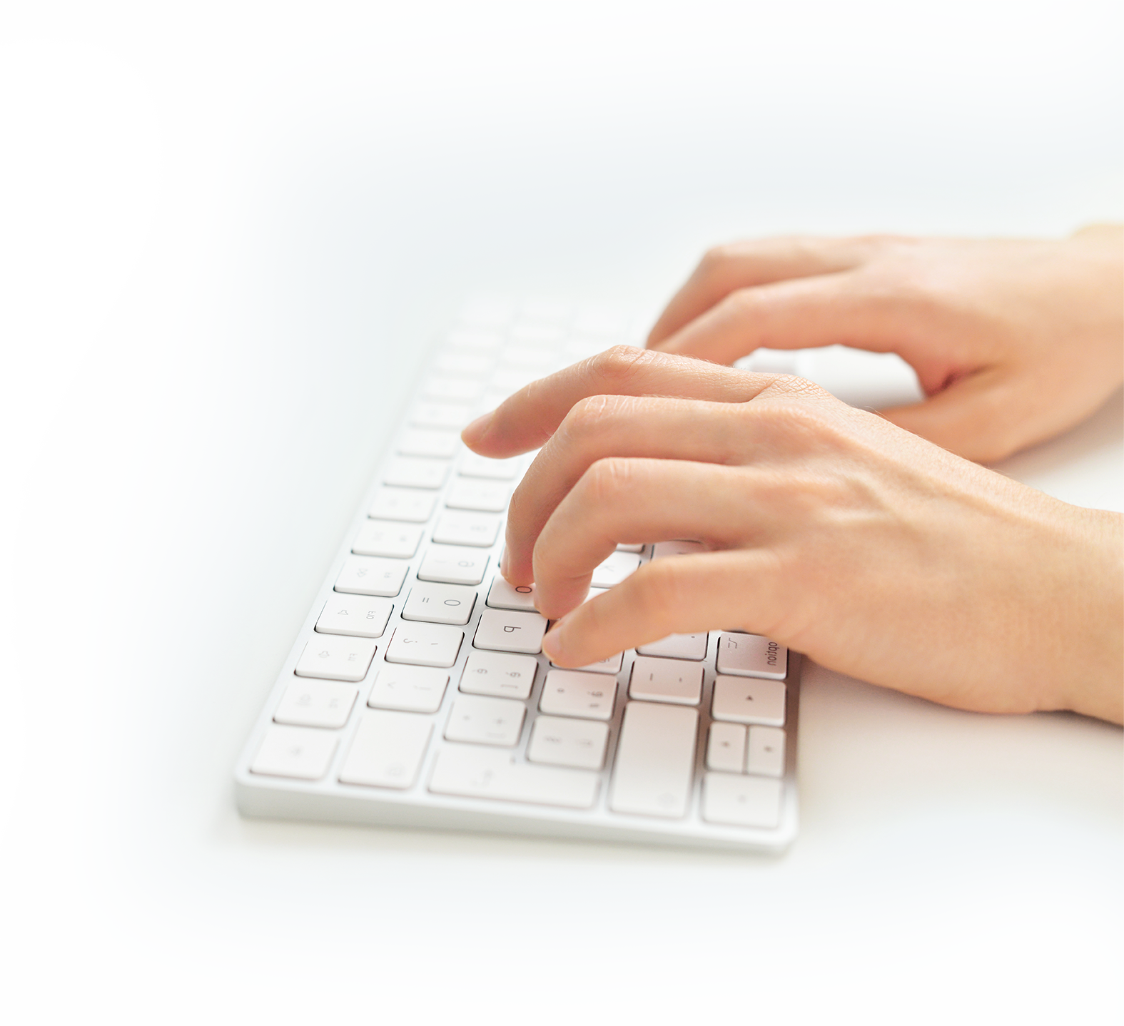 person typing on a keyboard - messaging guides