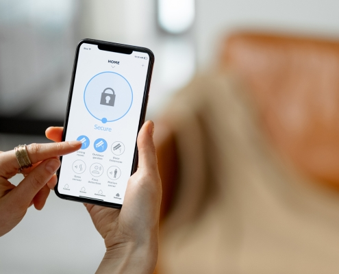 Closeup of smartphone with privacy app